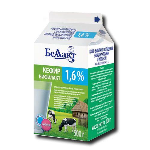 """Кефир """"БИФИЛАКТ"""", обогащенный бифидобактериями и инулином, 1,6% (пюр-пак)"""